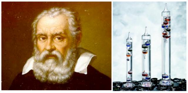 Retrato de Galileo Galilei (izquierda) y ejemplo de un termómetro de Galileo actual (derecha). El funcionamiento de este se basa en la diferente de densidad que experimentan los cuerpos al cambiar su temperatura.