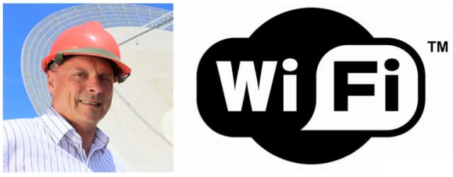 Izquierda: imagen de John O'Sullivan, inventor de la tecnología WiFi. Derecha: logotipo de dicha tecnología.
