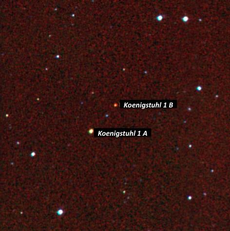 Imagen en falso color de la estrella doble Koenigstuhl 1 AB. Rn rojo el filtro H, en verde el filtro I y en azul el filtroR.