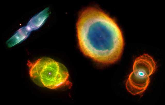 Figura 1: Diferentes nebulosas planetarias observadas por el telescopio espacial Hubble (NASA). Se puede observar la gran variedad de morfología que tienen estas hermosas estructuras. El origen de estas formas depende de muchos factores, la mayoría de ellos todavía desconocidos. Fuente: Hubble (NASA)