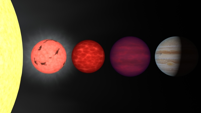 Representación artística de la comparación de tamaños de diferentes objetos. De izquierda a derecha:  el Sol, una enana marrón, una enana marrón similar a J1047+21, y el planeta Júpiter. Fuente: NASA/IPAC/R. Hurt (SSC)