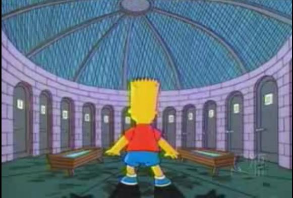 """Fotograma de uno d elos capítulos de la serie """"Los Simpson"""" en la que Bart se enfreta a un problema similar al que proponemos en esta entrada. Aunque en este caso es con puertas en lugar de cajas y el proemio no era un viaje a Bora Bora."""