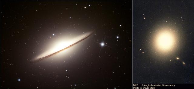 Izquiera: Imagen de la Galaxia del Sombrero obtenida por el telescopio espacial Hubble (NASA). Derecha: Imagen de la galaxia elíptica M87.