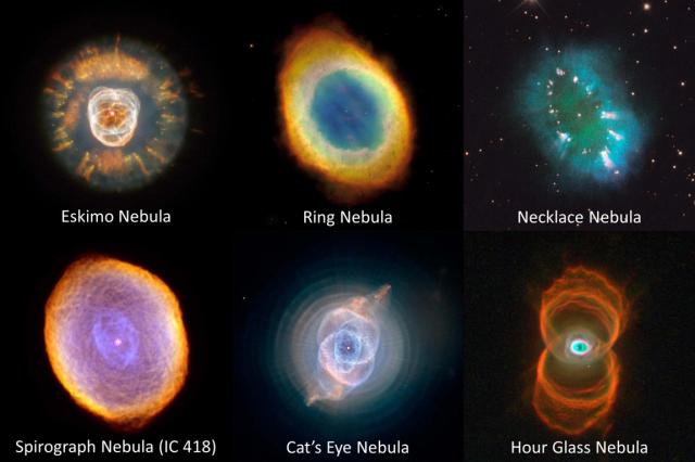 Nebulosas planetarias observadas por el telescopio espacial Hubble. Estos objetos corresponden a la muerte de una estrella, que tras agotar su combustible interno, libera las capas externas con diferentes elementos químicos que dan lugar a estas coloridas imágenes.