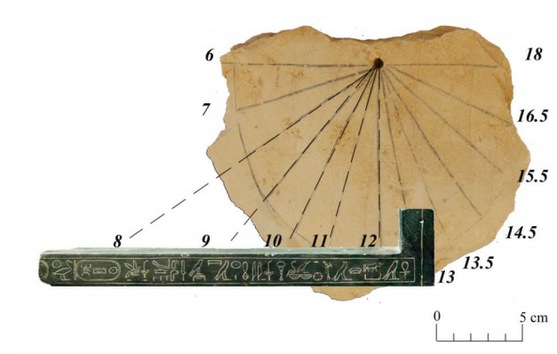Reloj solar encontrado en el Valle de los Reyes en 2012 que pertenece al siglo XIII antes de nuestra era. El hallazgo lo realizó un equipo de egiptólogos de la Universidad de Basilea dirigido por Profesora Susanne Bickel.