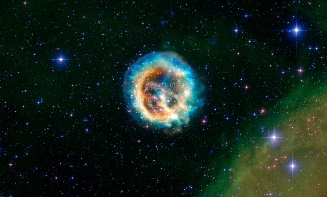 Composición de imágenes del remanente de supernova E0102. Crédito: X-ray (NASA/CXC/MIT/D.Dewey et al. NASA/CXC/SAO/J.DePasquale); Optical (NASA/STScI)