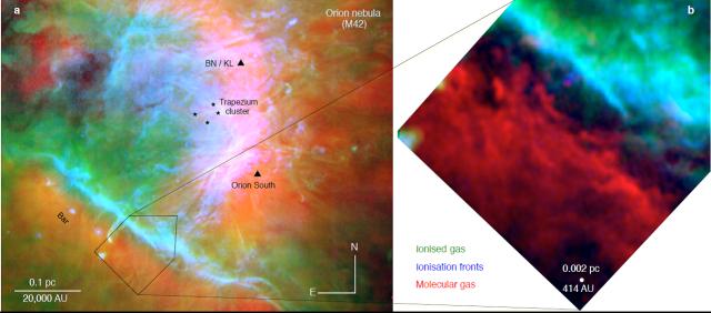 """Imagen """"multicolor"""" de la nebulosa y nube molecular de Orión. Las imágenes del gas atómico fueron tomadas en el telescopio VLT (Weilbacher et al.) Crédito: CSIC"""