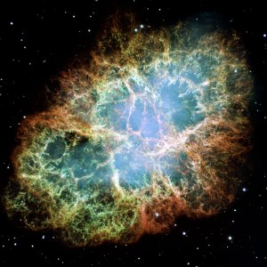 Nebulosa del cangrejo correspondiente al remanente de la supernova SN 1054, detectada por astrónomos chinos y árabes en el año 1054. Crédito imagen: NASA/Hubble.